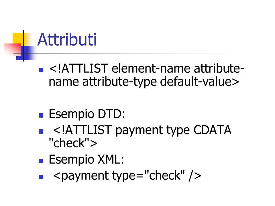 Attributi Esempio DTD: Esempio XML: