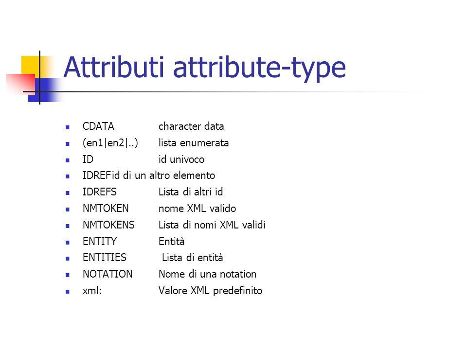Attributi attribute-type CDATAcharacter data (en1|en2|..)lista enumerata IDid univoco IDREFid di un altro elemento IDREFSLista di altri id NMTOKENnome