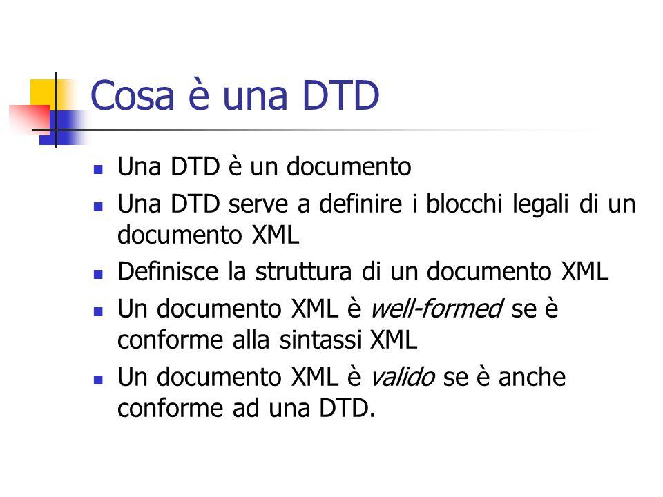 Cosa è una DTD Una DTD è un documento Una DTD serve a definire i blocchi legali di un documento XML Definisce la struttura di un documento XML Un docu