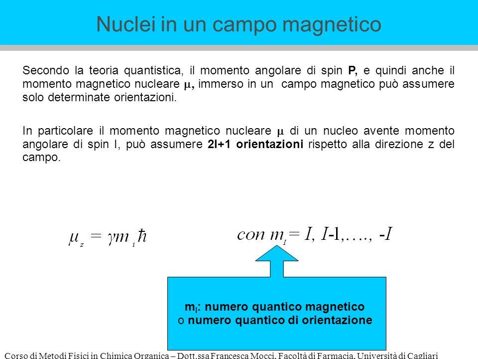 Corso di Metodi Fisici in Chimica Organica – Dott.ssa Francesca Mocci, Facoltà di Farmacia, Università di Cagliari Secondo la teoria quantistica, il momento angolare di spin P, e quindi anche il momento magnetico nucleare immerso in un campo magnetico può assumere solo determinate orientazioni.