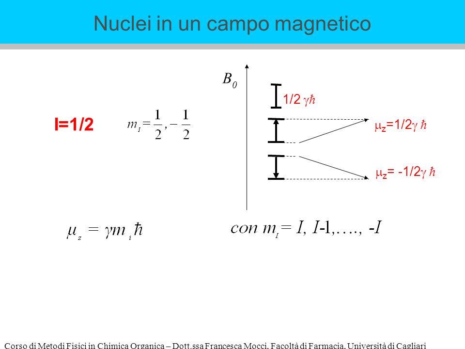Corso di Metodi Fisici in Chimica Organica – Dott.ssa Francesca Mocci, Facoltà di Farmacia, Università di Cagliari I=1/2 B0B0 z =1/2 z = -1/2 1/2 Nuclei in un campo magnetico