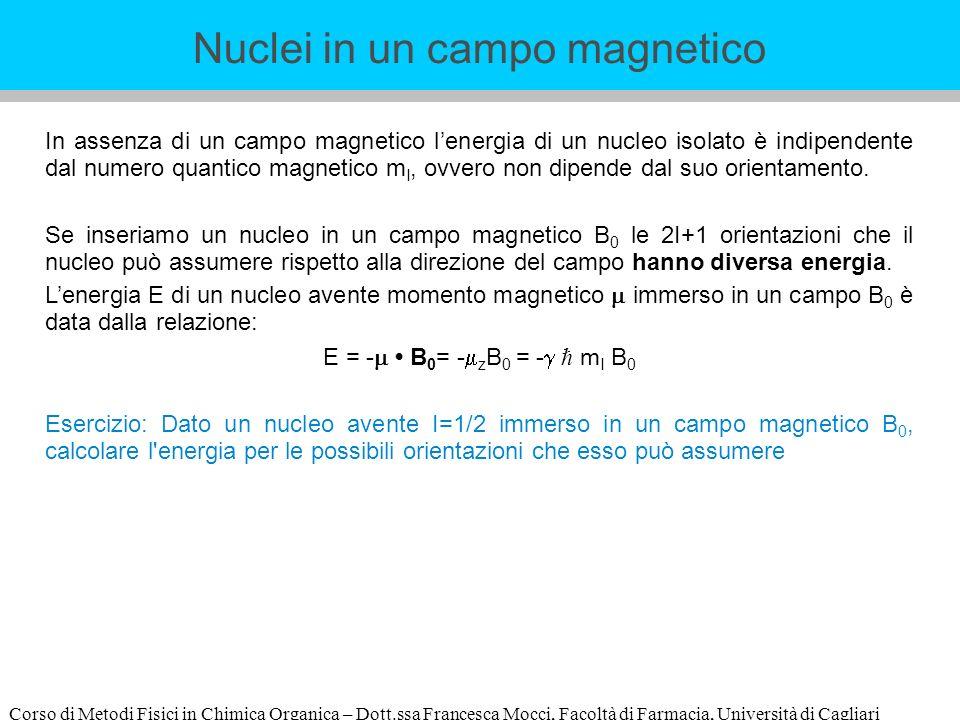 Corso di Metodi Fisici in Chimica Organica – Dott.ssa Francesca Mocci, Facoltà di Farmacia, Università di Cagliari In assenza di un campo magnetico le