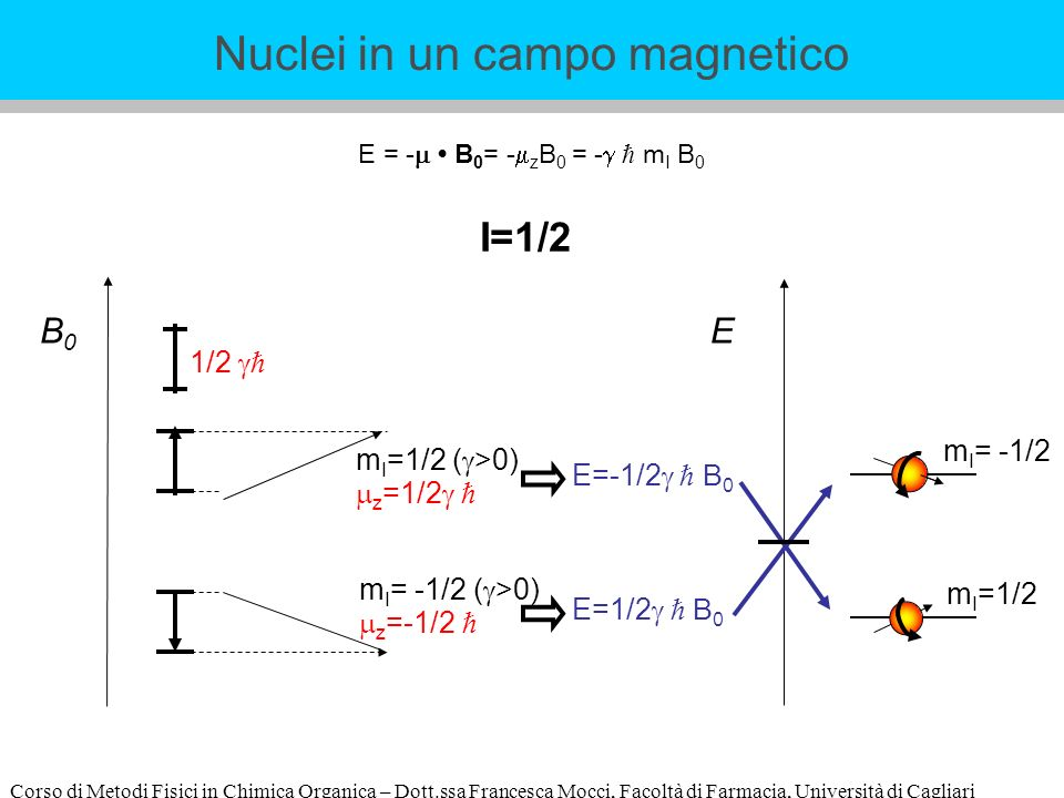 Corso di Metodi Fisici in Chimica Organica – Dott.ssa Francesca Mocci, Facoltà di Farmacia, Università di Cagliari E = - B 0 = - z B 0 = - m I B 0 B0B