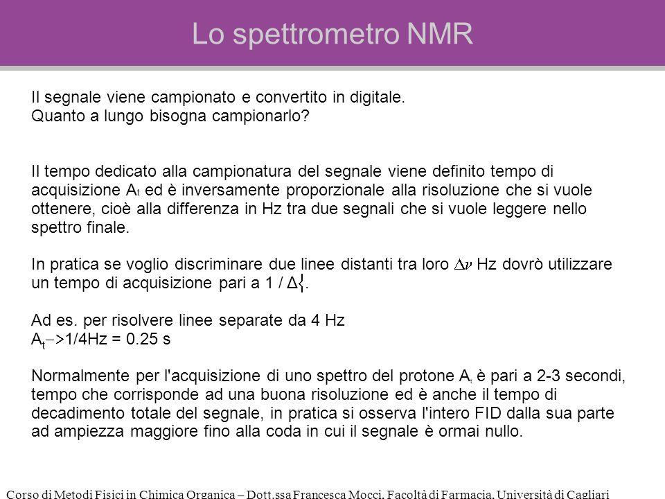 Corso di Metodi Fisici in Chimica Organica – Dott.ssa Francesca Mocci, Facoltà di Farmacia, Università di Cagliari Lo spettrometro NMR Il segnale viene campionato e convertito in digitale.
