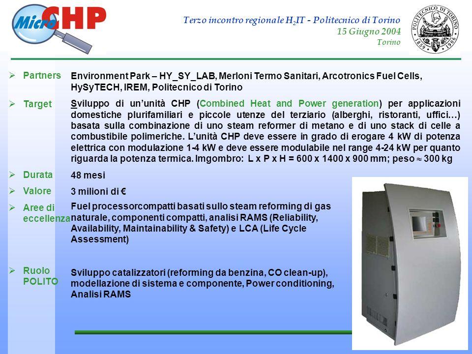 Terzo incontro regionale H 2 IT - Politecnico di Torino 15 Giugno 2004 Torino MICRO-CHP Partners Target Durata Valore Aree di eccellenza Ruolo POLITO