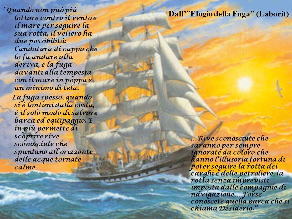 DallElogio della Fuga (Laborit) Quando non può più lottare contro il vento e il mare per seguire la sua rotta, il veliero ha due possibilità: landatur