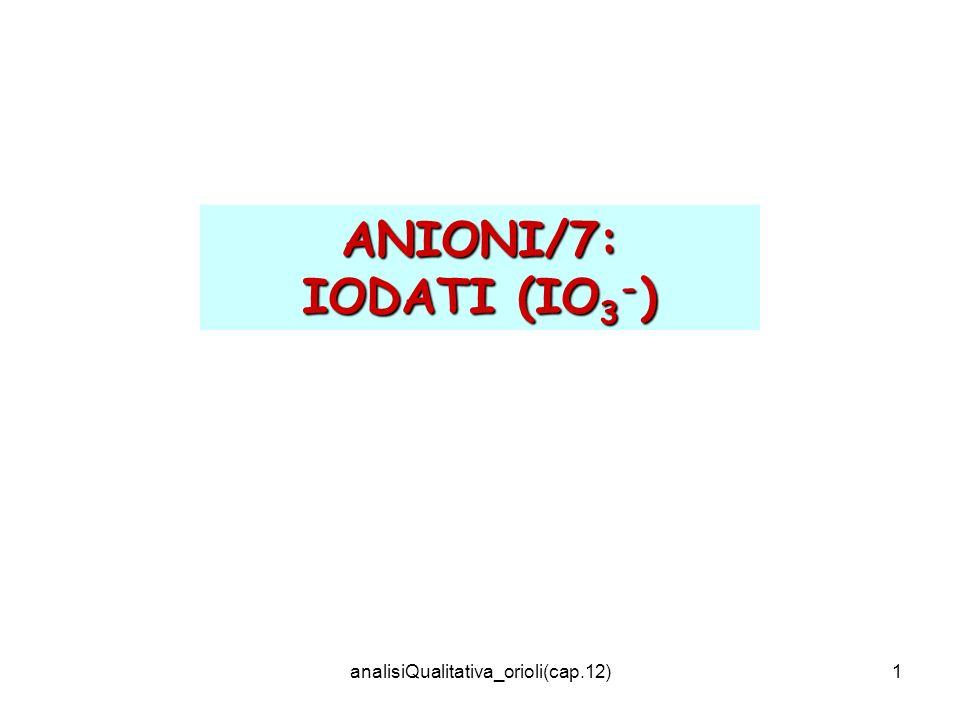 analisiQualitativa_orioli(cap.12)2 IO 3 - + 6H + + 5I - 3I 2 + 3H 2 O (Giallo arancio) Procedimento: Alla soluzione acquosa acidificata con HCl (alcune gocce), aggiungere una punta di spatola di KI.