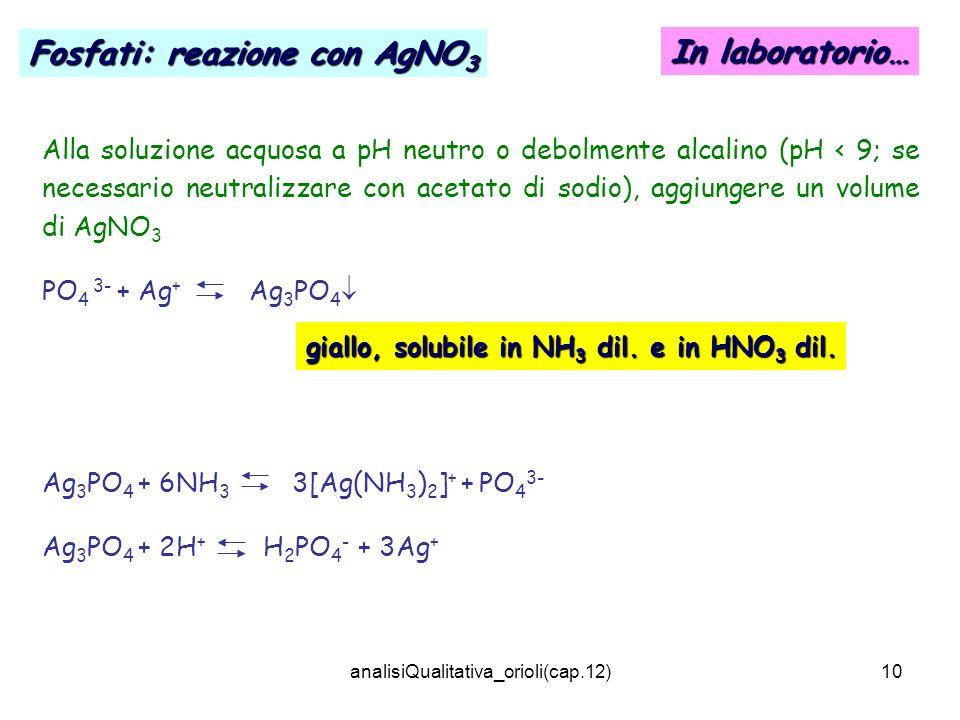 analisiQualitativa_orioli(cap.12)10 Alla soluzione acquosa a pH neutro o debolmente alcalino (pH < 9; se necessario neutralizzare con acetato di sodio