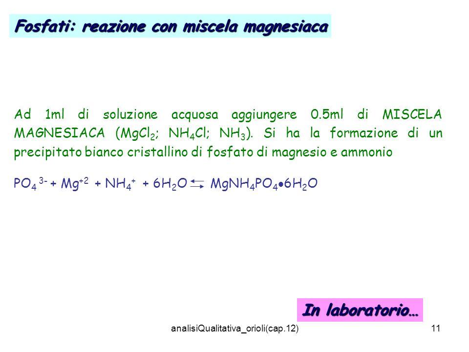 analisiQualitativa_orioli(cap.12)11 Ad 1ml di soluzione acquosa aggiungere 0.5ml di MISCELA MAGNESIACA (MgCl 2 ; NH 4 Cl; NH 3 ). Si ha la formazione
