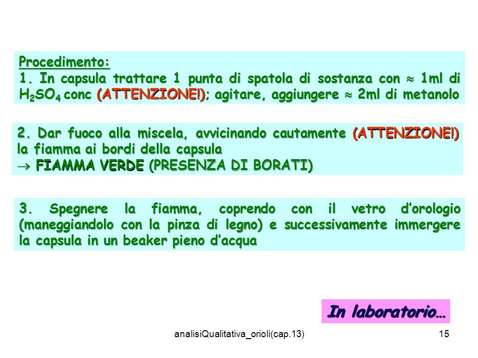 analisiQualitativa_orioli(cap.13)15 Procedimento: 1. In capsula trattare 1 punta di spatola di sostanza con 1ml di H 2 SO 4 conc (ATTENZIONE!); agitar