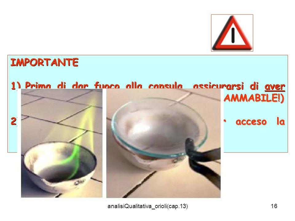 analisiQualitativa_orioli(cap.13)16 IMPORTANTE 1)Prima di dar fuoco alla capsula, assicurarsi di aver allontanato la bottiglia di metanolo (INFIAMMABI