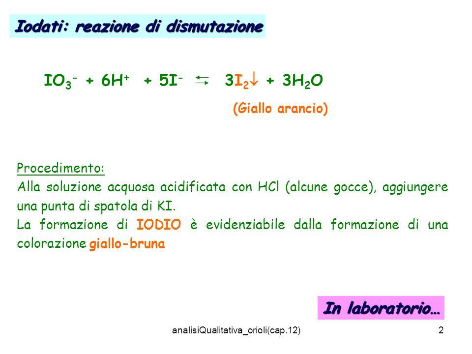 analisiQualitativa_orioli(cap.12)2 IO 3 - + 6H + + 5I - 3I 2 + 3H 2 O (Giallo arancio) Procedimento: Alla soluzione acquosa acidificata con HCl (alcun