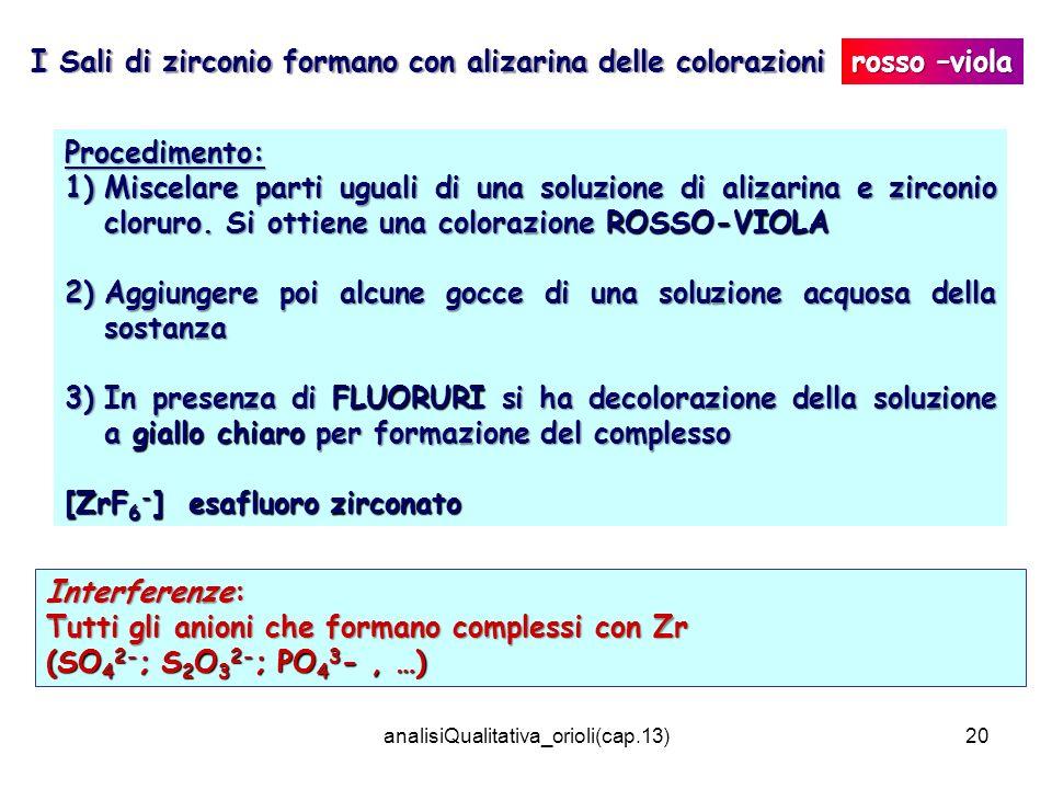 analisiQualitativa_orioli(cap.13)20 I Sali di zirconio formano con alizarina delle colorazioni Interferenze: Tutti gli anioni che formano complessi co