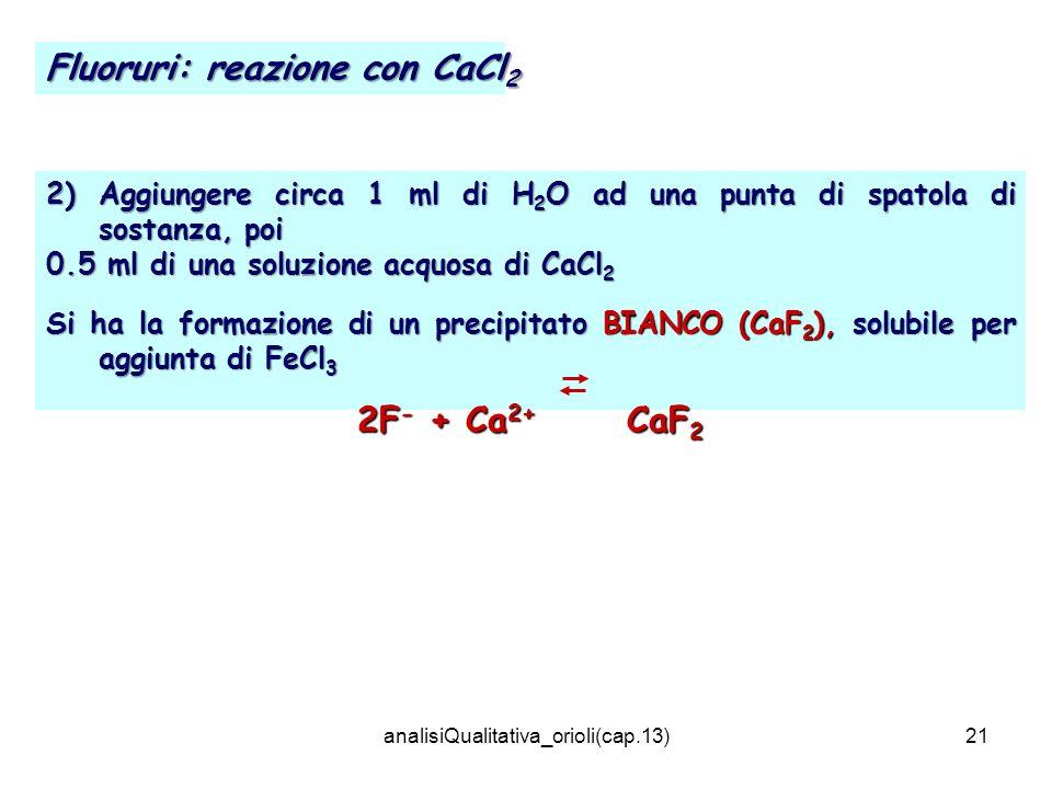 analisiQualitativa_orioli(cap.13)21 2) Aggiungere circa 1 ml di H 2 O ad una punta di spatola di sostanza, poi 0.5 ml di una soluzione acquosa di CaCl
