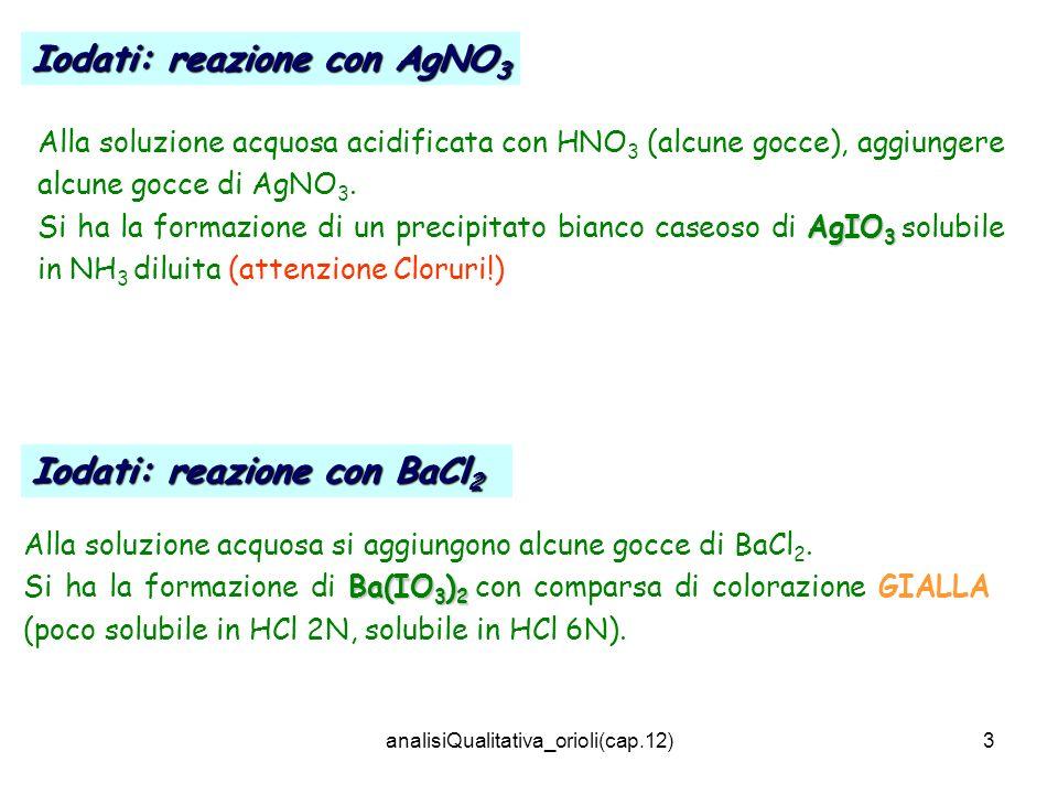 analisiQualitativa_orioli(cap.13)14 BO 3 3- + 3H + H 3 BO 3 B 4 O 7 2- + 2H + + 5H 2 O 4H 3 BO 3 BO 2 - + H + + H 2 O H 3 BO 3 In ambiente acido, lacido borico reagisce con alcoli (CH 3 OH) con formazione di BORATI ALCHILICI (corrispondente estere metilico borato di metile) volatili 3CH 3 OH + H 3 BO 3 (CH 3 )BO 3 + 3H 2 O (CH 3 )BO 3 + 9O 2 6CO 2 + 9H 2 O + B 2 O 3 anidride dellacido borico