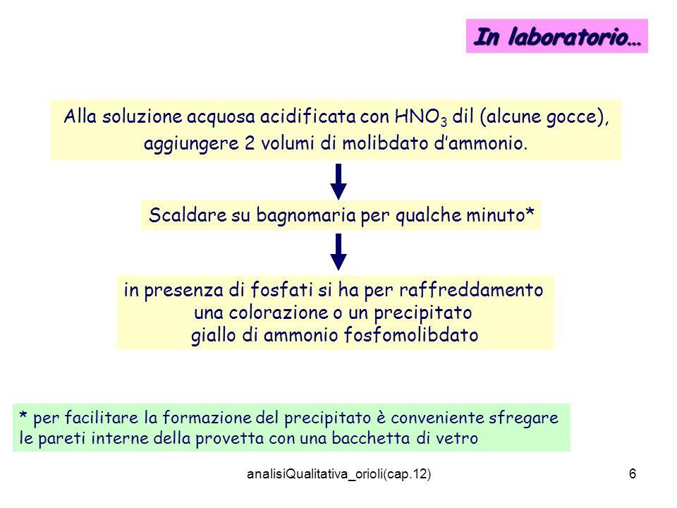 analisiQualitativa_orioli(cap.12)6 In laboratorio… Alla soluzione acquosa acidificata con HNO 3 dil (alcune gocce), aggiungere 2 volumi di molibdato d