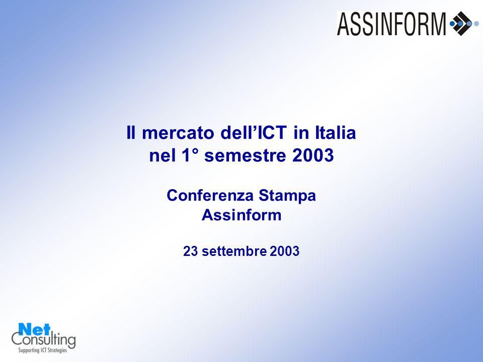 Il mercato dellICT in Italia nel 1° semestre 2003 23 settembre 2003 – Slide 0 Il mercato dellICT in Italia nel 1° semestre 2003 Conferenza Stampa Assinform 23 settembre 2003