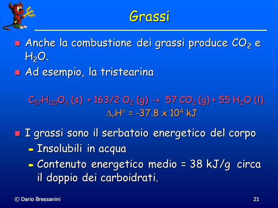 © Dario Bressanini21 Grassi Anche la combustione dei grassi produce CO 2 e H 2 O. Anche la combustione dei grassi produce CO 2 e H 2 O. Ad esempio, la