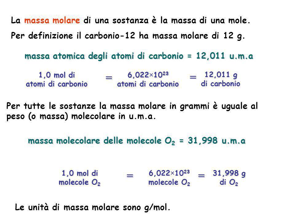 Per tutte le sostanze la massa molare in grammi è uguale al peso (o massa) molecolare in u.m.a. massa atomica degli atomi di carbonio = 12,011 u.m.a L