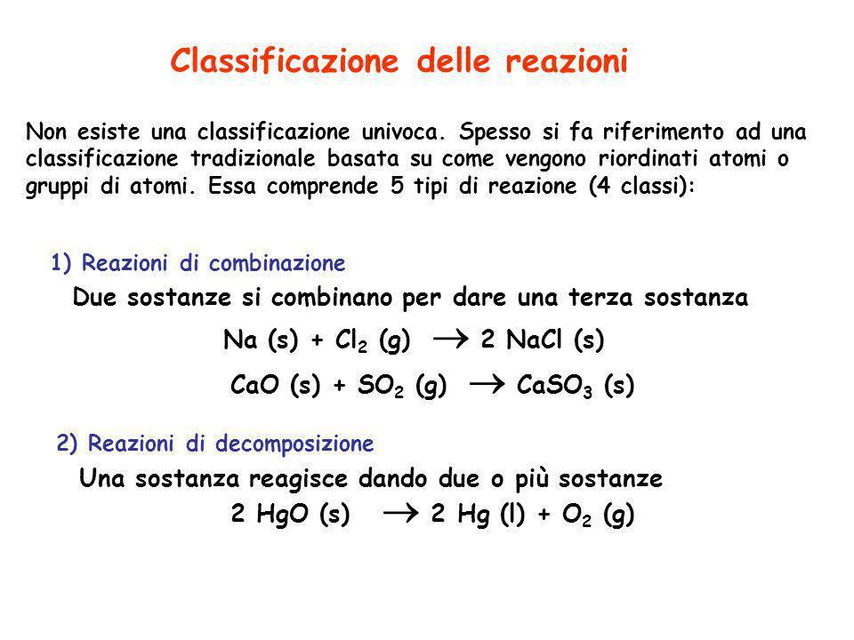 Non esiste una classificazione univoca. Spesso si fa riferimento ad una classificazione tradizionale basata su come vengono riordinati atomi o gruppi