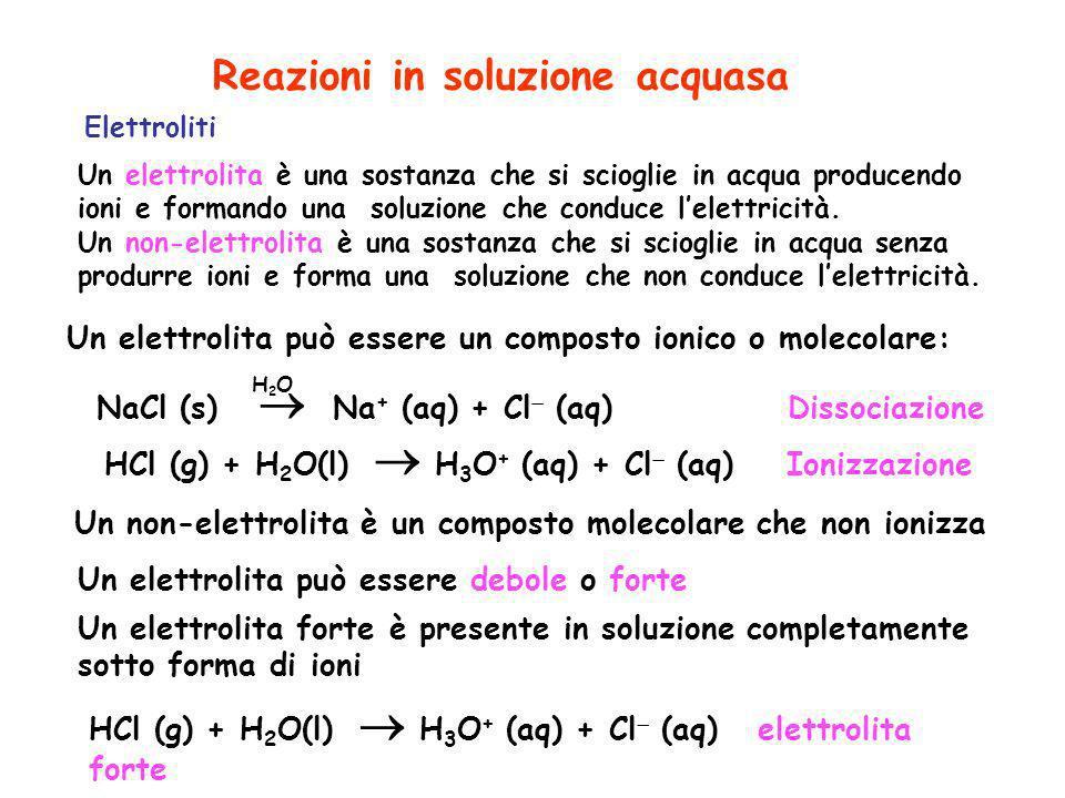 Un elettrolita è una sostanza che si scioglie in acqua producendo ioni e formando una soluzione che conduce lelettricità. Un non-elettrolita è una sos