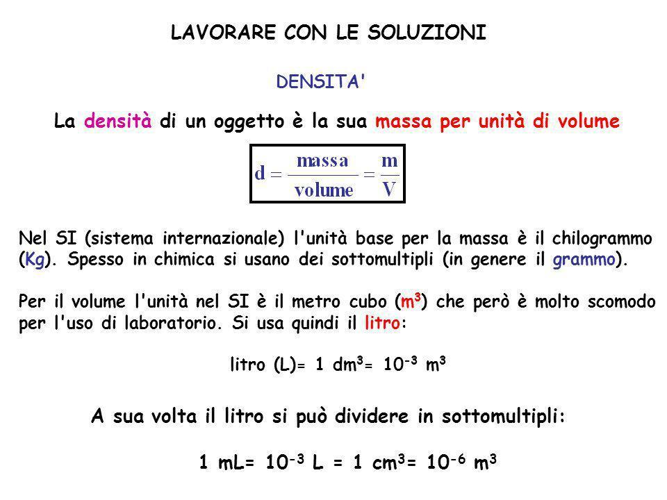 LAVORARE CON LE SOLUZIONI DENSITA' La densità di un oggetto è la sua massa per unità di volume Nel SI (sistema internazionale) l'unità base per la mas