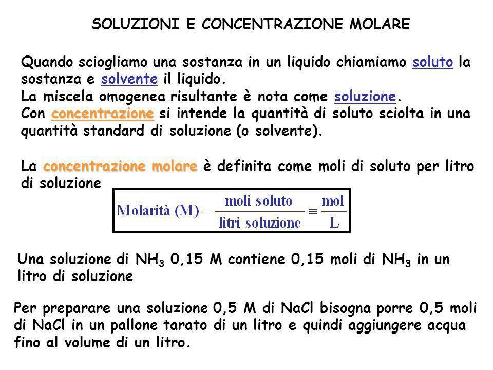 SOLUZIONI E CONCENTRAZIONE MOLARE Quando sciogliamo una sostanza in un liquido chiamiamo soluto la sostanza e solvente il liquido. La miscela omogenea