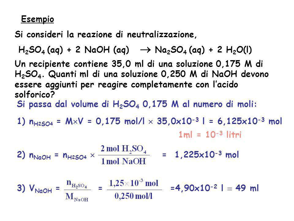 Si consideri la reazione di neutralizzazione, H 2 SO 4 (aq) + 2 NaOH (aq) Na 2 SO 4 (aq) + 2 H 2 O(l) Un recipiente contiene 35,0 ml di una soluzione