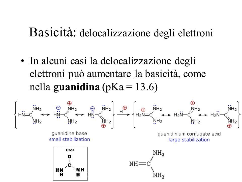 Basicità: delocalizzazione degli elettroni In alcuni casi la delocalizzazione degli elettroni può aumentare la basicità, come nella guanidina (pKa = 1