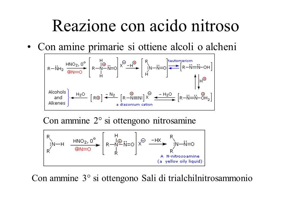 Reazione con acido nitroso Con amine primarie si ottiene alcoli o alcheni Con ammine 2° si ottengono nitrosamine Con ammine 3° si ottengono Sali di tr