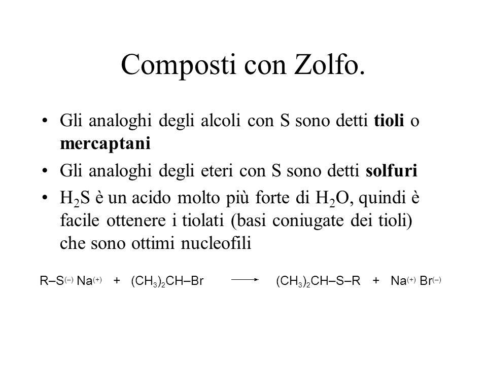 Composti con Zolfo. Gli analoghi degli alcoli con S sono detti tioli o mercaptani Gli analoghi degli eteri con S sono detti solfuri H 2 S è un acido m