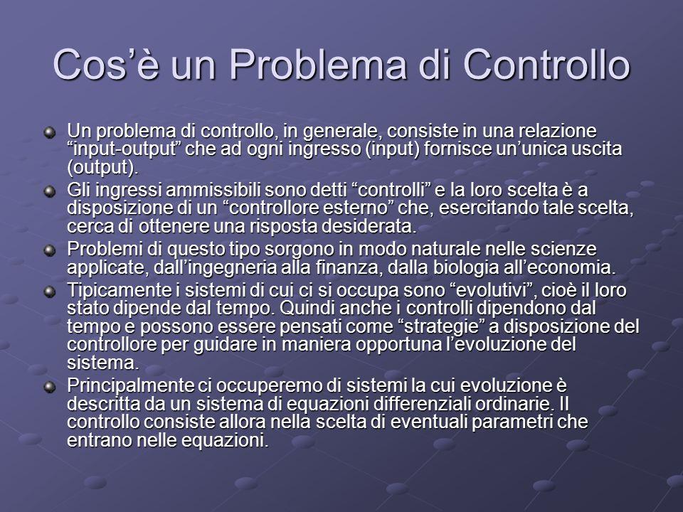 Cosè un Problema di Controllo Un problema di controllo, in generale, consiste in una relazione input-output che ad ogni ingresso (input) fornisce unun