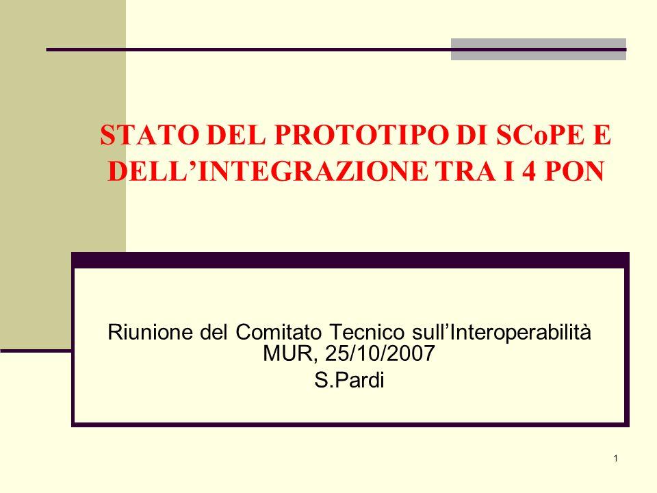 1 STATO DEL PROTOTIPO DI SCoPE E DELLINTEGRAZIONE TRA I 4 PON Riunione del Comitato Tecnico sullInteroperabilità MUR, 25/10/2007 S.Pardi