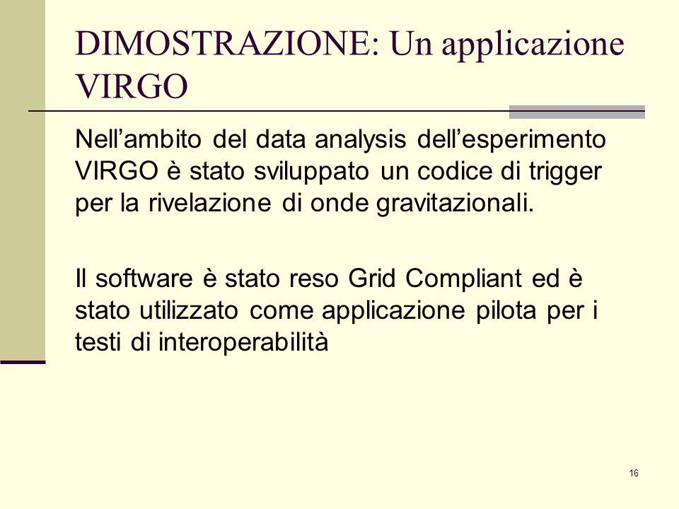 16 DIMOSTRAZIONE: Un applicazione VIRGO Nellambito del data analysis dellesperimento VIRGO è stato sviluppato un codice di trigger per la rivelazione