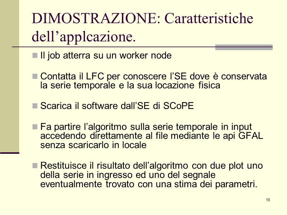 18 DIMOSTRAZIONE: Caratteristiche dellapplcazione. Il job atterra su un worker node Contatta il LFC per conoscere lSE dove è conservata la serie tempo