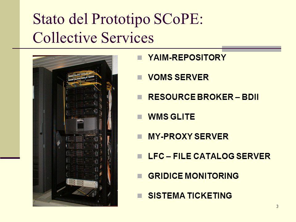 4 Stato del Prototipo SCoPE: Core Services sito GSC COMPUTING ELEMENT 11 WORKER NODE 48 CORE STORAGE ELEMENT 4 TB SPAZIO DISCO USER INTERFACE GENIUS PORTAL