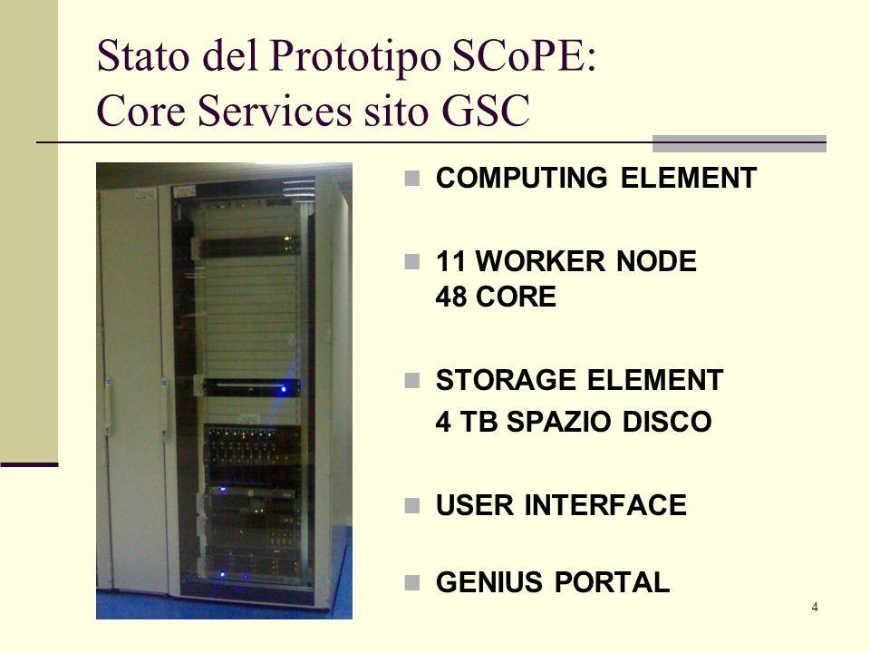 4 Stato del Prototipo SCoPE: Core Services sito GSC COMPUTING ELEMENT 11 WORKER NODE 48 CORE STORAGE ELEMENT 4 TB SPAZIO DISCO USER INTERFACE GENIUS P