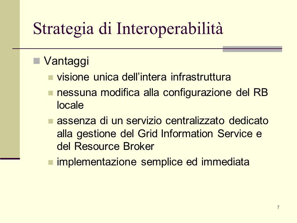 7 Vantaggi visione unica dellintera infrastruttura nessuna modifica alla configurazione del RB locale assenza di un servizio centralizzato dedicato al