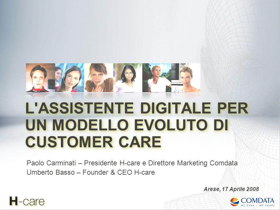 Il modello evoluto di Customer Care L assistente digitale integrato con i processi di customer care: il ruolo sociale dellHDA Le soluzioni di assistenza virtuale: focus sulle tecnologie Casi di successo Agenda