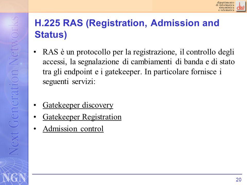 20 H.225 RAS (Registration, Admission and Status) RAS è un protocollo per la registrazione, il controllo degli accessi, la segnalazione di cambiamenti