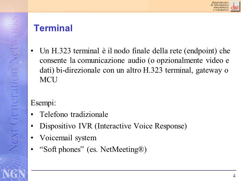 5 MCU (Multipoint Control Unit) LMCU fornisce il supporto per conferenze di più terminali H.323 Contiene un Multipoint Controller (MC) che gestisce la segnalazione di chiamata e (opzionalmente) un Multipoint Processor (MP) che processa laudio/video (ad esempio mixing dei media, conversione tra codec, etc)