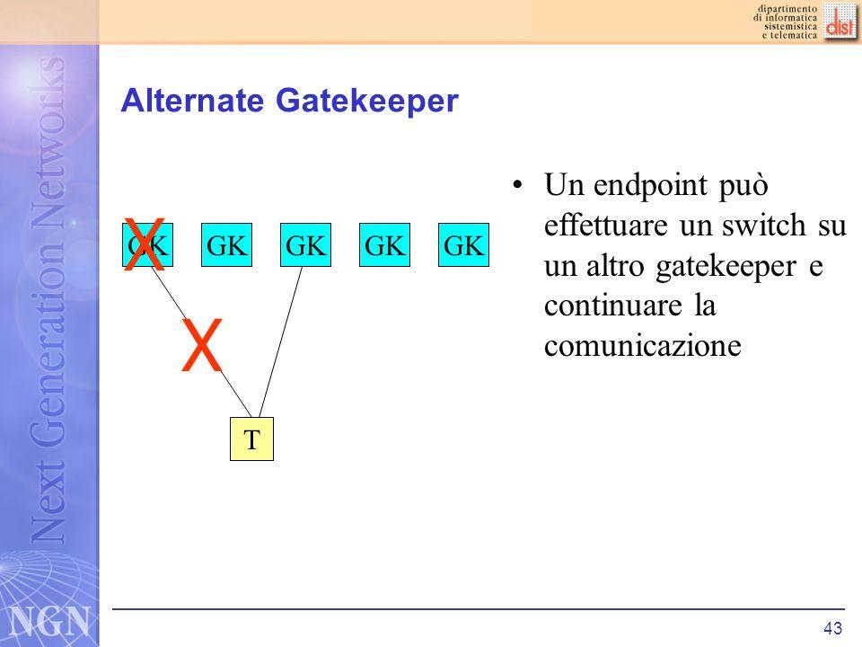 43 Alternate Gatekeeper Un endpoint può effettuare un switch su un altro gatekeeper e continuare la comunicazione T GK X X