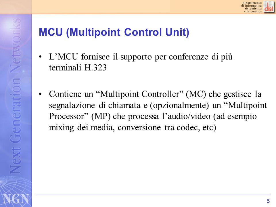 5 MCU (Multipoint Control Unit) LMCU fornisce il supporto per conferenze di più terminali H.323 Contiene un Multipoint Controller (MC) che gestisce la