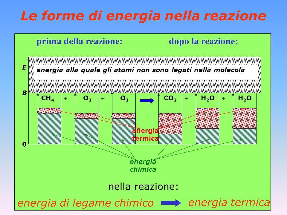 Le forme di energia nella reazione + prima della reazione: dopo la reazione: nella reazione: energia termica energia di legame chimico CO 2 H 2 O O2O2