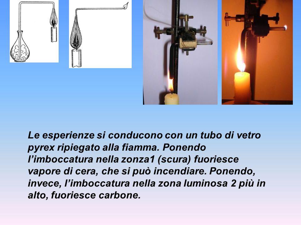 Le esperienze si conducono con un tubo di vetro pyrex ripiegato alla fiamma. Ponendo limboccatura nella zonza1 (scura) fuoriesce vapore di cera, che s