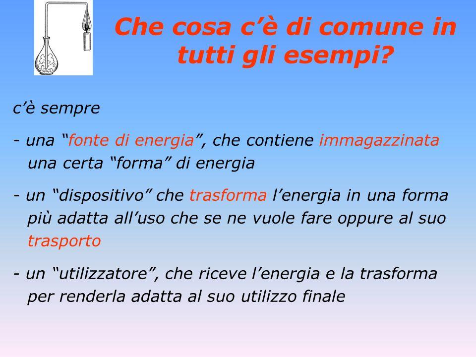 Che cosa cè di comune in tutti gli esempi? cè sempre - una fonte di energia, che contiene immagazzinata una certa forma di energia - un dispositivo ch