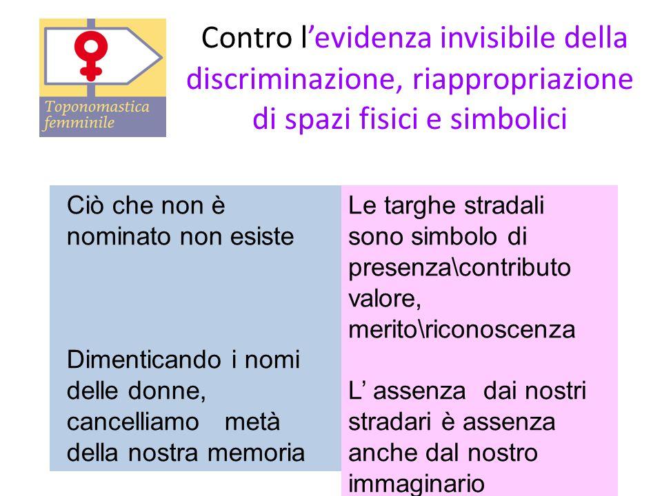 Contro levidenza invisibile della discriminazione, riappropriazione di spazi fisici e simbolici Ciò che non è nominato non esiste Dimenticando i nomi