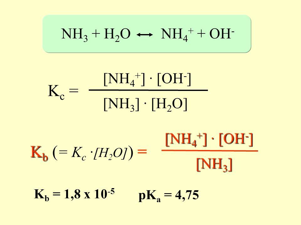NH 3 + H 2 O NH 4 + + OH - K c = [NH 4 + ] · [OH - ] [NH 3 ] · [H 2 O] K b K b ( = K c · [H 2 O] ) = [NH 4 + ] · [OH - ] [NH 3 ] K b = 1,8 x 10 -5 pK