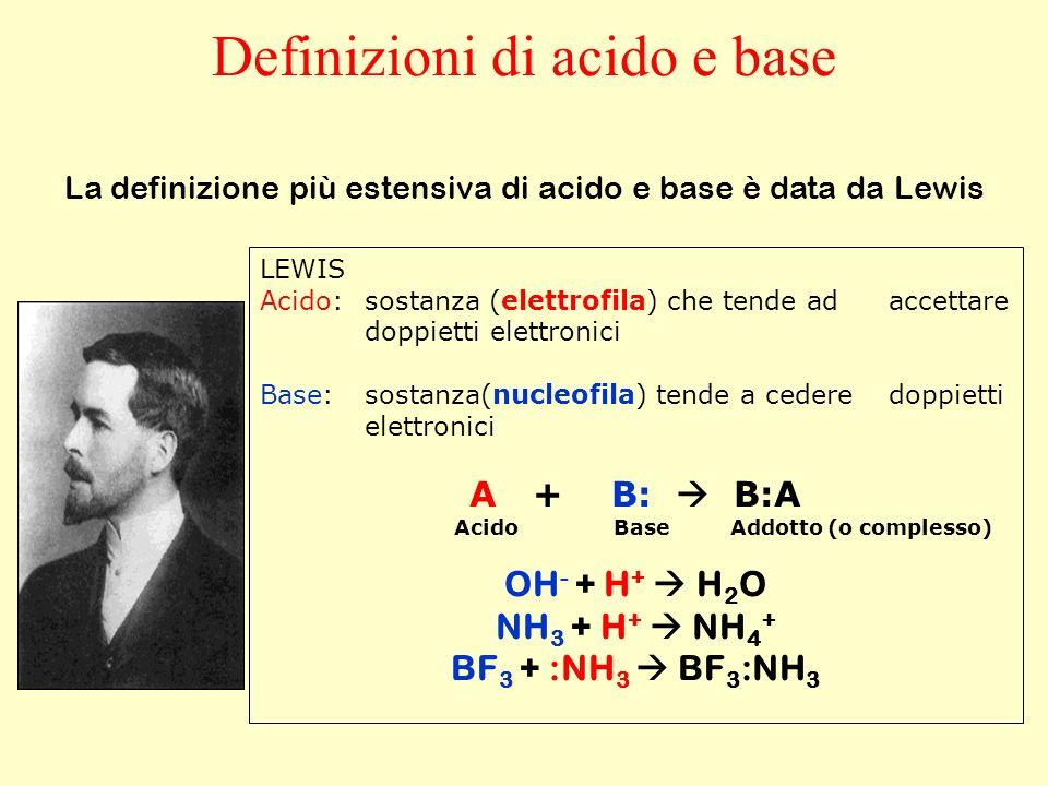 LEWIS Acido:sostanza (elettrofila) che tende ad accettare doppietti elettronici Base:sostanza(nucleofila) tende a cedere doppietti elettronici A + B: