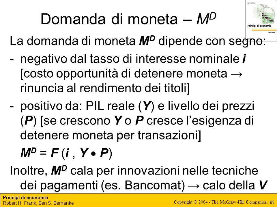 Principi di economia Robert H. Frank, Ben S. Bernanke Copyright © 2004 - The McGraw-Hill Companies, srl Domanda di moneta – M D La domanda di moneta M